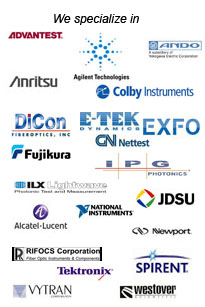 advantest agilent ando anritsu colby dicon etek exfo fujikura cnnettest ipg ilx jdsu alcatel lucent national instruments newport rifocs spirent tektronix vytran westover